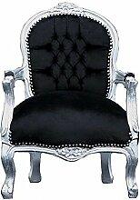 schwarzer antiker Kinder Sessel Barock Stuhl silber