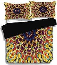 Schwarzer Bettbezug-Set, gelbes Mandala,