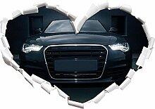 Schwarzer böser Audi Herzform im 3D-Look , Wand-
