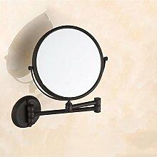 Schwarzer Bronze / Kosmetikspiegel / Kosmetikspiegel / drehbarer Klappspiegel / Kosmetikspiegel / Doppel- / Dreifachvergrößerung / Badezimmerspiegel