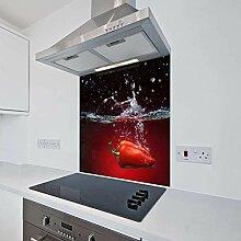 Schwarzer Glas-Spritzschutz für Küchen, inkl.