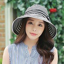 Schwarzer Hut Sommer Sonnenschutz Sonnenschutz Hut Striped Sonnenschutz Cap