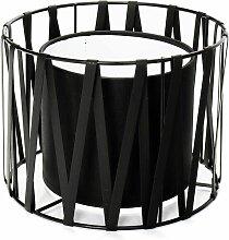 Schwarzer Lampenschirm für Tischleuchten Metall