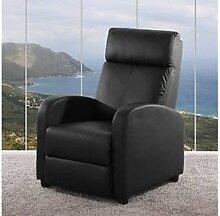 schwarzer Sessel verstellbar schwarz Kunstleder