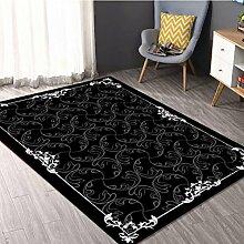 Schwarzer Teppich Wohnzimmer Couchtisch Teppich Schlafzimmer Bett Matten ( größe : 90*160cm )