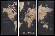 Schwarzer Triptychon-Rahmen Weltkarte 180x120