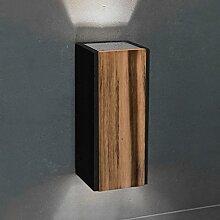 Schwarzer Wandstrahler Up & Down inkl. 2 x LED GU10 230V 5W neutralweiß - Design-Beleuchtung aus dunklem Beton & Teak-Holz