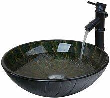 Schwarzer Wasserhahn + Bad Handbemalte