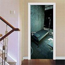 Schwarzes Bett Tür Tapete selbstklebend