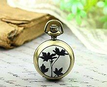 Schwarzes Blatt-Taschenuhr, schöne Halskette mit