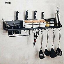 Schwarzes Küchenregal Ausstanzbarer Wandhalter