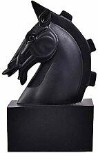Schwarzes Pferd Kopf Form Ornamente Skulptur