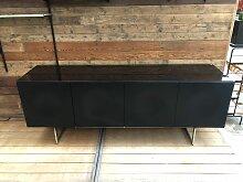 Schwarzes Vintage Sideboard, 1980er