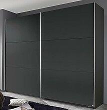 Schwebetürenschrank grau metallic 2 Türen B 261 Jugendzimmer Schlafzimmer Kleiderschrank Schrank Wäscheschrank Schiebetürenschrank