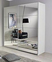 Schwebetürenschrank weiß 2 Türen B 181 cm Schrank Kleiderschrank Schiebetürenschrank Spiegelschrank Jugendzimmer Schlafzimmer
