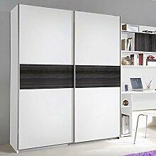 Schwebetürenschrank weiß / grau 2 Türen B 136