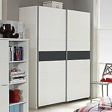 Schwebetürenschrank weiß / grau 2 Türen B 175 cm Schrank Kleiderschrank Schiebetürenschrank Jugendzimmer Kinderzimmer Schlafzimmer
