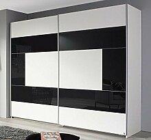 Schwebetürenschrank weiß grau 2 Türen B 218 cm Kleiderschrank Schrank Wäscheschrank Schiebetürenschrank Jugendzimmer Schlafzimmer