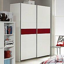 Schwebetürenschrank weiß / rot 2 Türen B 175 cm Schrank Kleiderschrank Schiebetürenschrank Jugendzimmer Schlafzimmer