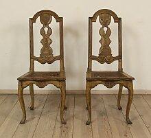 Schwedische Antike Barock Stühle, 2er Set