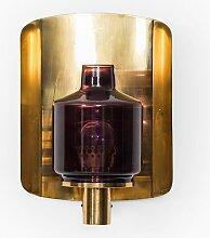 Schwedische Messing & Glas V-222 Wandlampe von