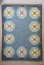 Schwedischer Blauer Vintage Rölakan Flachgewebe
