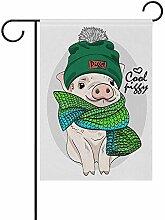 Schwein mit grüner Strickmütze doppelseitige