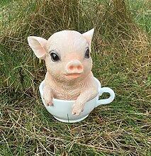Schwein rosa sitzend in Tassen Figur Dekofigur Gartendeko