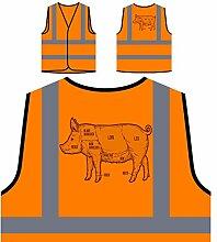 Schweinefleisch-Grill-Grill Personalisierte High Visibility Orange Sicherheitsjacke Weste m630vo