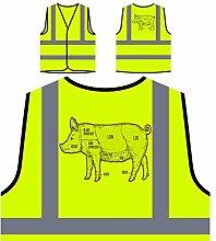 Schweinefleisch-Grill-Grill Personalisierte High Visibility Gelbe Sicherheitsjacke Weste m630v