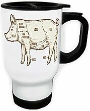 Schweinefleisch-Grill-Grill Weiß Thermischer Reisebecher 14oz 400ml Becher Tasse m630tw