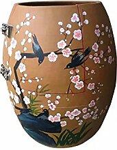 Schweiß verdunstet/Sauna/Saunen/gesunde Urn/ Nano Anion/Negativ-Ionen/weit InfraRotRay/ Hyperthermie/desinfizieren/Puls Magnetfeld/lila Ton/Unterglasur Pastellfarben und braun glasiert---Vögel zwitschern In Plum-blühende Sträucher