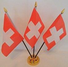 Schweiz Swiss 3Flagge Desktop Tisch mit Gold Boden