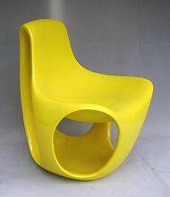 Schweizer Gelb lackierter Fiberglas Stuhl, 1970er