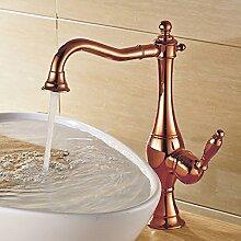 Schwenkbare Retro Waschbecken Waschtischarmatur Waschschale Einhebelmischer Mischbatterie Rosegold Sanlingo
