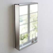 Schwenkbarer Spiegelschrank sorgt für Ordnung und