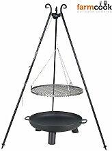 Schwenkgrill mit Dreibein und Rost und Feuerschale (Feuerschale70cm/Rost60cm)