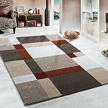 Schwerer Webteppich Karo Muster Beige Terrakotta, Grösse:120x170 cm