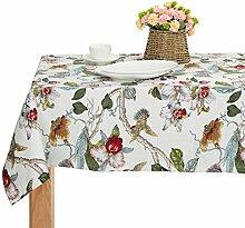 Schweres Baumwoll-Tischtuch mit Blumenmuster,