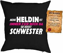 Schwester Kissen Sprüche Kuschelkissen : immer für mich da ... Schwester -- Geburtstag Schwester -- Kissen mit Füllung - Farbe: schwarz