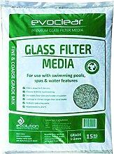 Schwimmbad Filterglass Sand Ersatz Medien durch evoclear: reduziert Wasser, Chemikalien- und Pumpe Power Kosten mit nachhaltig recyceltem Glas Media. Leicht zu Griff-15?kg-Beutel von 1-2mm Single Grade Mix.