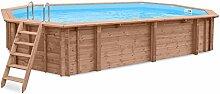 Schwimmbad PACIFIC PARADISE, Gartenpool Auf- und Erdeinbau, Holz, Längliches Schwimmbecken, 8,14 x 4,60 x 1,38 m, Pumpe, Poolleiter, Skimmer