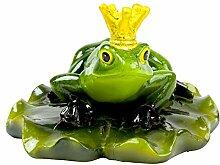 Schwimmtier Figur Teich Frosch König auf Seerosneblatt Gartenfigur - Liegend