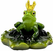 Schwimmtier Figur Teich Frosch König auf Seerosneblatt Gartenfigur- Sitzend