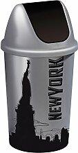 Schwingdeckel-Mülleimer 45 Liter in schwarz/silber - MOTIV NEW YORK
