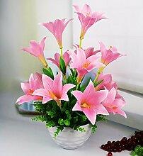 SCLOTHS Künstliche Blumen Home Zubehör Kit Kunststoff Lily Pink