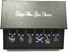 Scottish / Scotland Wine Glass Charms with Gift