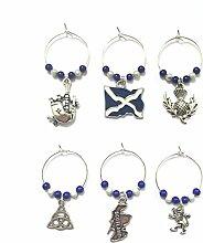 Scottish / Scotland Wine Glass Charms with Velvet
