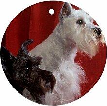 Scottish Terrier Hunde Ornament, rund, Porzellan