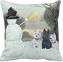 Scottish Terrier und Westies Terrier Winter Kissen